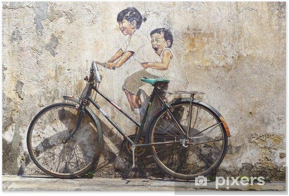 """Poster """"Kleine kinderen op een Fiets"""" Mural. - Wielersport"""
