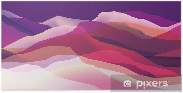 Poster Kleur bergen, golven, abstract oppervlak, moderne achtergrond, vector ontwerp illustratie voor je project - Grafische Bronnen