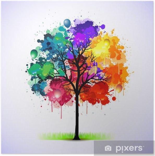 Poster Kleurrijke abstracte boom achtergrond - Stijlen