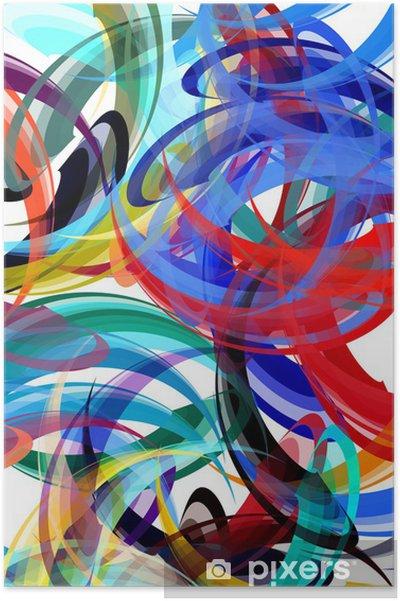 Poster Kleurrijke achtergrond in abstracte schilderstijl - iStaging