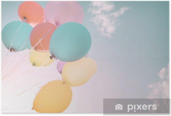 Kleurrijke Interieurs Pastel : Poster kleurrijke ballonnen in de zomervakantie. pastel kleurfilter
