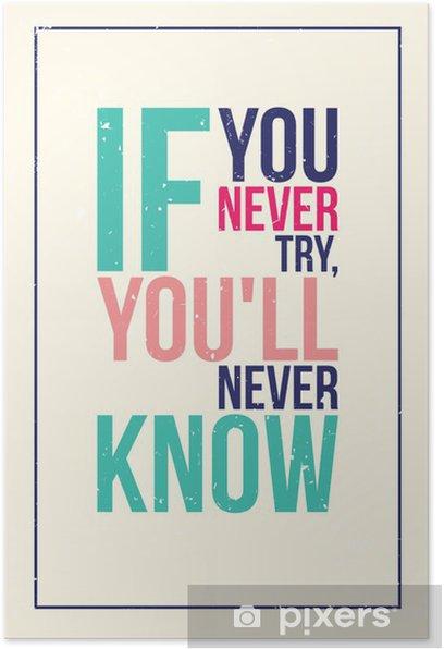 Poster Kleurrijke inspiratie motivatie poster. Grunge stijl - Business