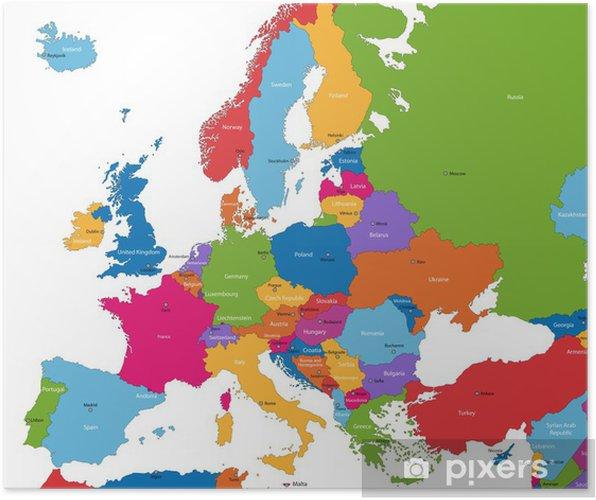 Poster Kleurrijke kaart van Europa met de landen en hoofdsteden - Thema's