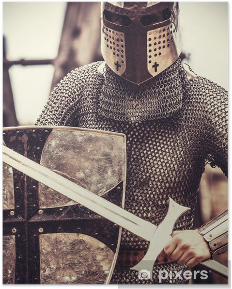 Poster Knight. Foto i vintage stil - Riddare