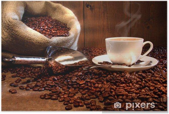 Poster Kopje koffie met een jute zak van geroosterde bonen - Thema's