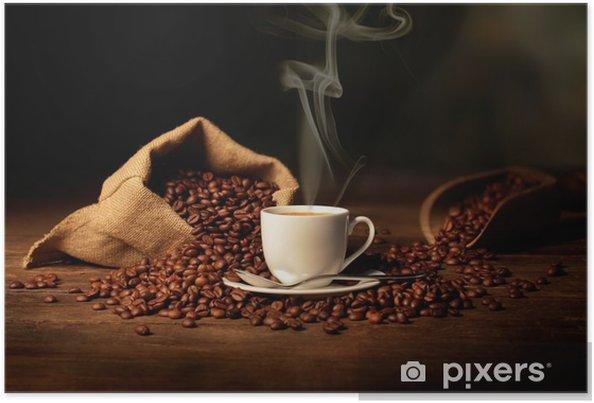 Poster Kopp rykande kaffe -