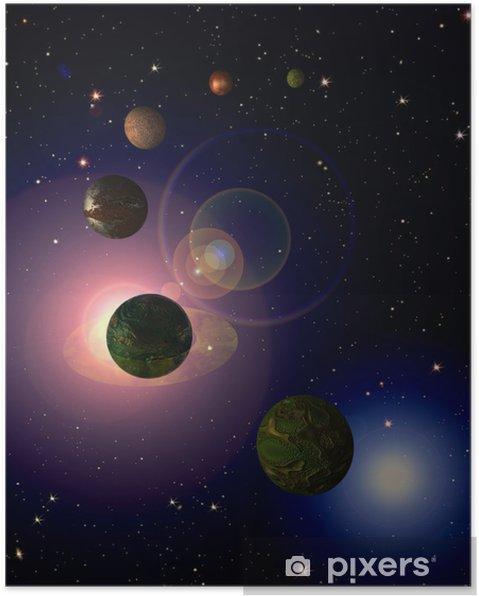 Poster Kosmische hemel met planeten - Heelal