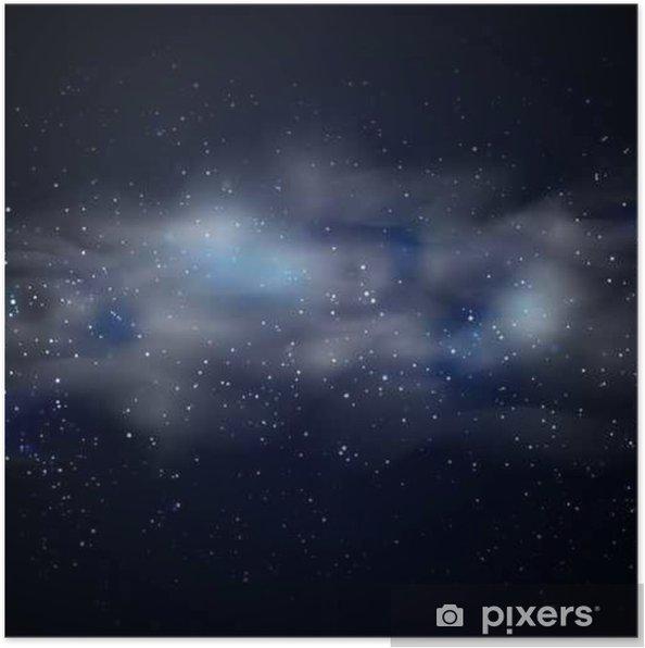 Poster Kosmische ruimte hemel zwarte achtergrond met blauwe sterren nevel in de nacht vector illustratie - Grafische Bronnen