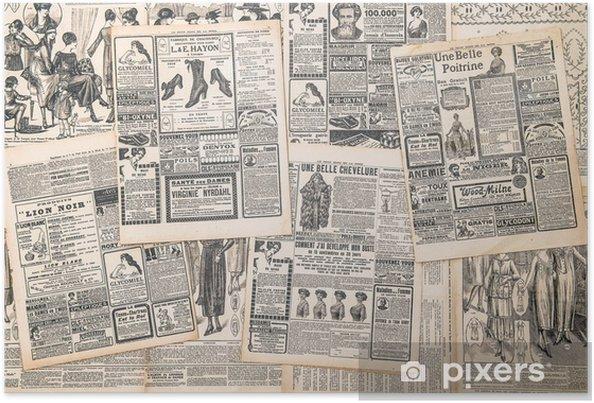 Poster Krantenpagina's met antieke advertentie - Texturen