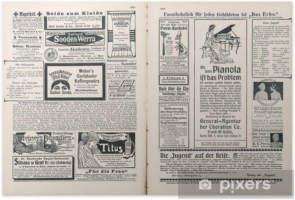 Poster Krantenpagina met antieke advertentie - Texturen
