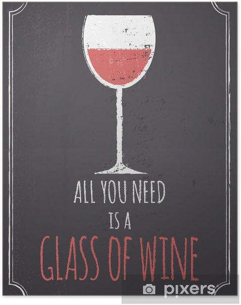 Poster Krijtbord Rode Wijn Ontwerp - Stijlen
