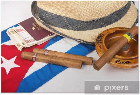 Poster Kubansk cigarr och hatt - Amerika