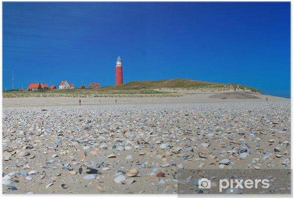 Poster Kust met zandduinen en vuurtoren - Europa