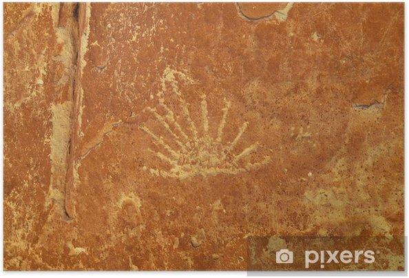 Poster L'art rupestre - Ute Pétroglyphes - Amérique