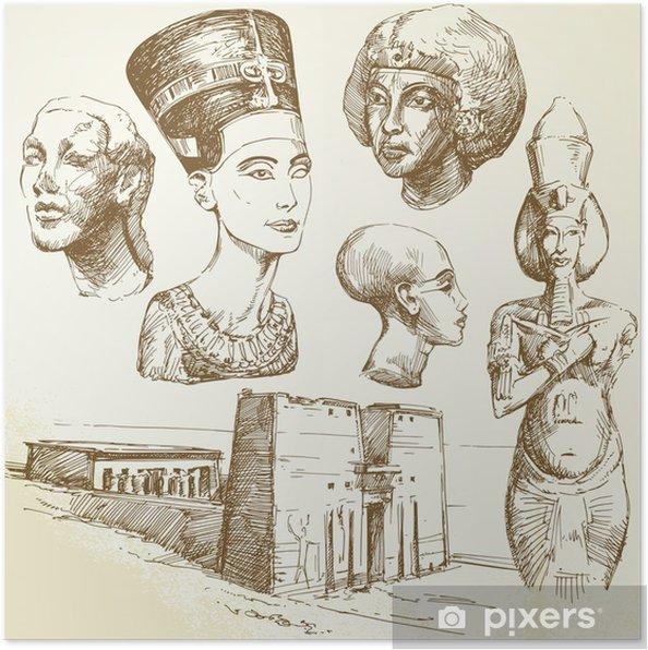 Poster L'egypte antique - collection dessinés à la main - Afrique