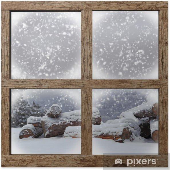 Poster L'extérieur d'hiver voir avec la pile de bois de chauffage de fenêtre en bois - Thèmes