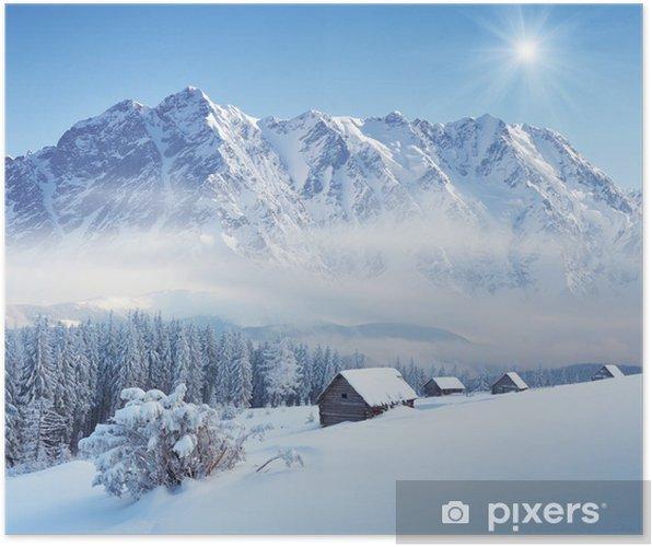 Poster L'hiver dans la vallée de montagne - Saisons