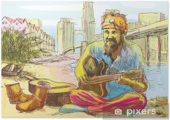Poster L'homme de hippie barbu jouer de la guitare (dessin dans le vecteur) - Musique