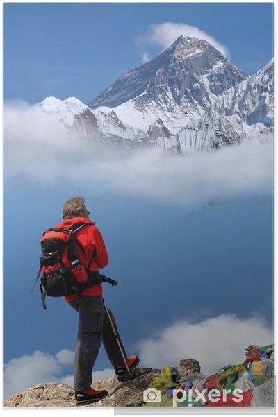 Poster L'homme en face du mont Everest, au Népal - Asie