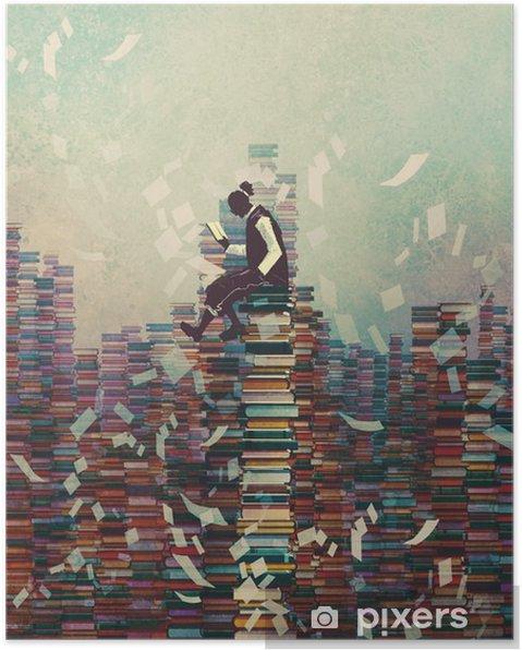 Poster L'homme livre de lecture, assis sur une pile de livres, le concept de la connaissance, illustration peinture - Passe-temps et loisirs