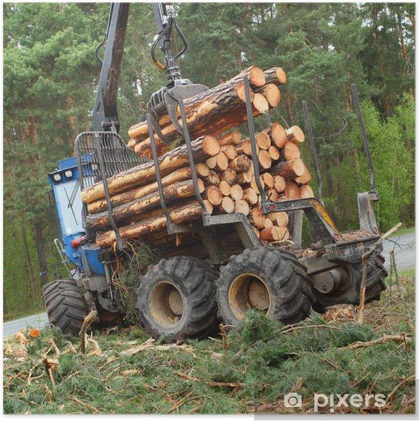 Poster La batteuse travaillant dans une forêt. - Sur la route