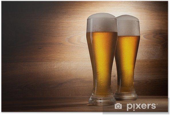 Poster La bière en verre sur une vieille pierre - Repas