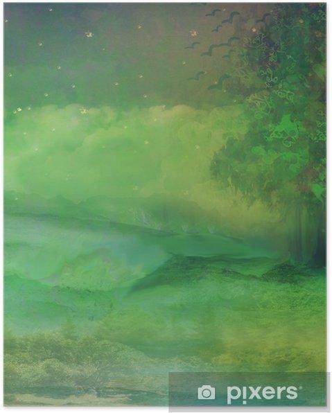 Poster La forêt de nuit en montagne - Merveilles naturelles