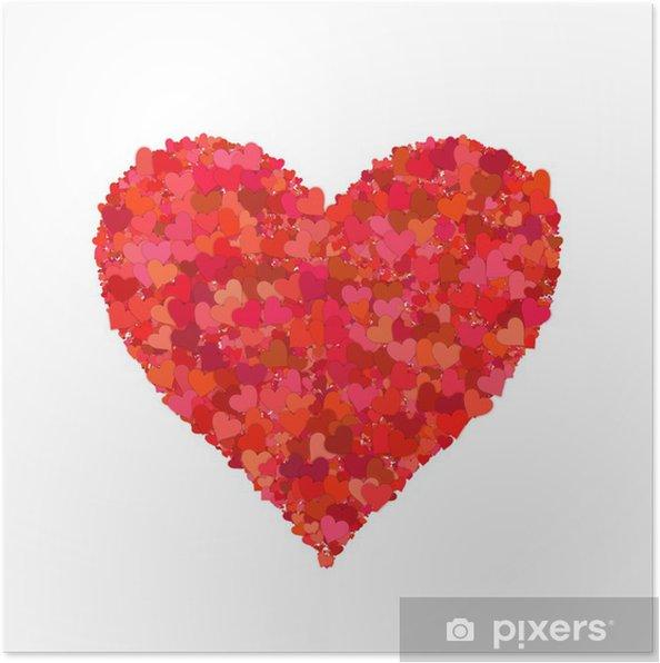 Póster La forma del corazón, corazones - Celebraciones internacionales