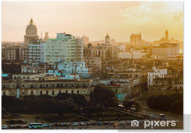Poster La Havane (Habana) au coucher du soleil, Cuba - Thèmes