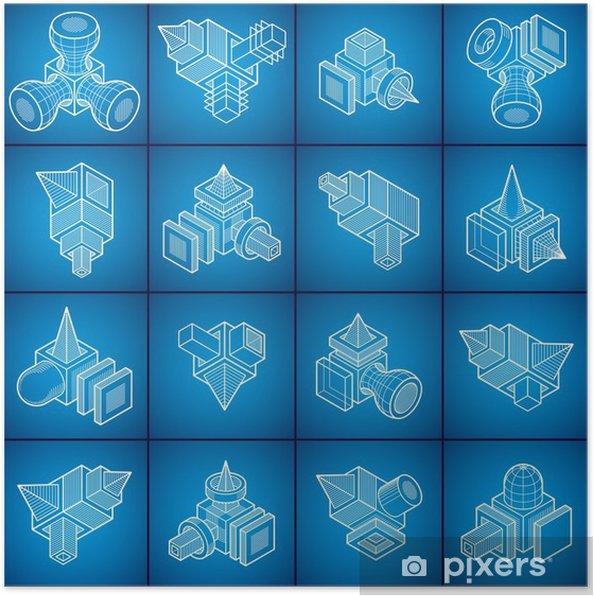 Póster La ingeniería de forma abstracta, vectores conjunto. - Recursos gráficos