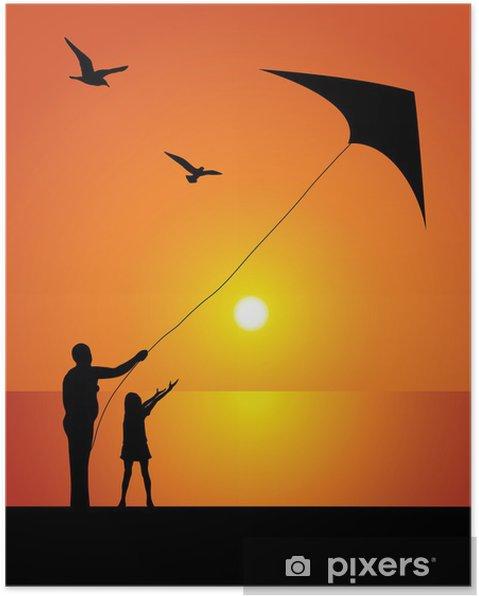 Poster La jeune fille et le kite - Vacances