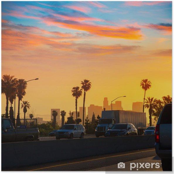Poster LA Los Angeles skyline van zonsondergang met verkeer Californië - Thema's
