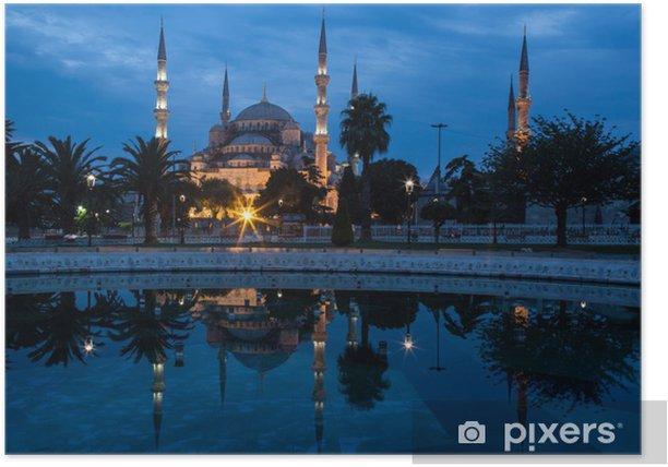 Poster La Mosquée Bleue, Istanbul, dans la première lumière de l'aube. - Moyen Orient