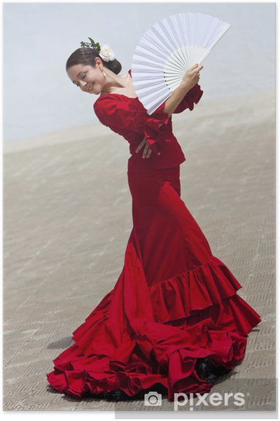 Póster La mujer tradicional española Flamenco Dancer In Red Dress con ventilador - España