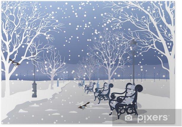Poster La neige qui tombe dans un parc de la ville - Saisons