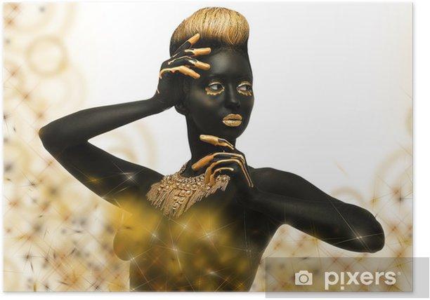 Poster La peau sombre avec un décor d'or - Femmes
