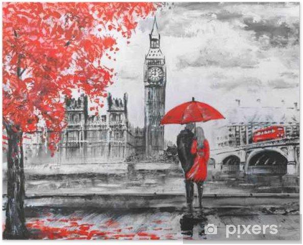 Póster La pintura al óleo sobre lienzo, vista de la calle de Londres, río y autobuses en el puente. Obras de arte. Gran Ben. hombre y mujer bajo un paraguas rojo - Viajes