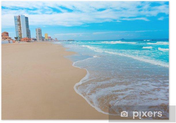 Poster La plage de La Manga del Mar Menor à Murcie en Espagne - Vacances