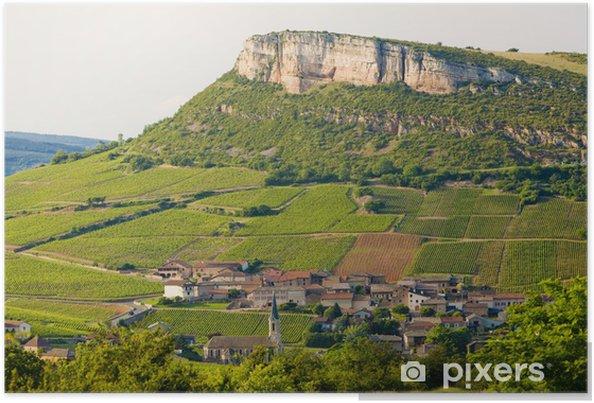 Póster La Roche de Solutré con viñedos, Borgoña, Francia - Europa