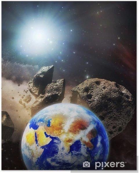 Poster La Terre, notre planète, sur une orbite de collision avec des astéroïdes. - Espace