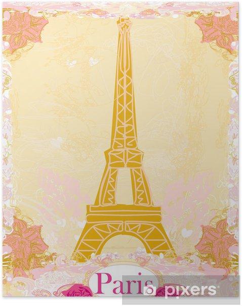 Poster La tour Eiffel fond artistique. Vector illustration. - Villes européennes