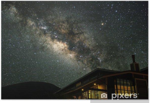 Poster La Voie Lactée sur une maison de montagne. - Thèmes