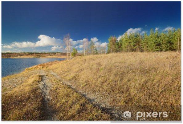 Poster Lac de paysage d'automne contre le ciel bleu - Eau