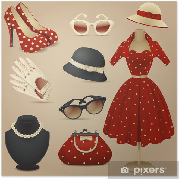 delicate colors new photos exquisite style Poster Lady retro mode-accessoires