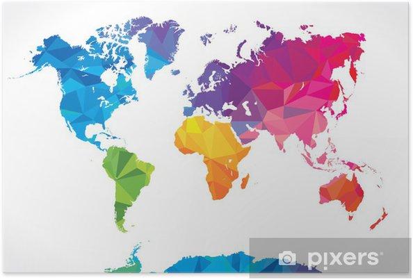 Poster Låg poly världskarta - Abstrakt