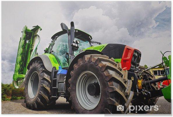 Poster Landbouw tractor en ploeg, reusachtige banden, nieuwste model - Thema's