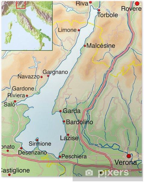 Landkarte Vom Gardasee Poster Pixers We Live To Change