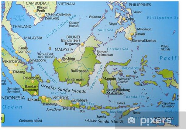 Landkarte Von Indonesien Mit Hauptstadten Und Nachbarlandern