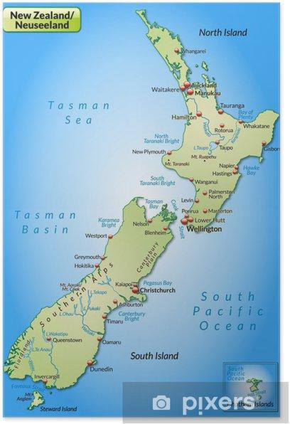 Landkarte Von Neuseeland Poster Pixers We Live To Change