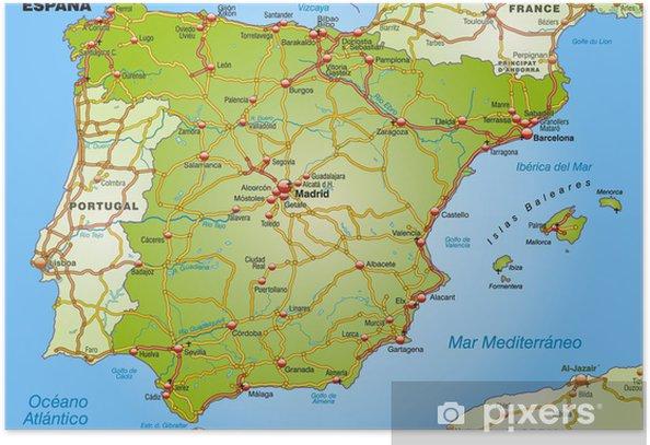 Landkarte Von Spanien Mit Autobahnen Und Hauptstadten Poster